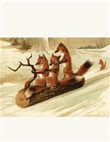 Sledding Foxes Unframed Print