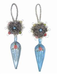 Rose Swag Finial Ornaments (Pair)