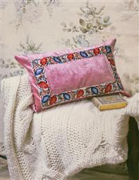 Pink Velvet Embellished Cushion