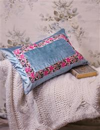 Blue Velvet Embellished Cushion