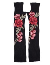 Applique Roses Fingerless Gloves