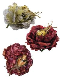 Christmas Cabbage Rose Clip Oranaments (Set Of 3)