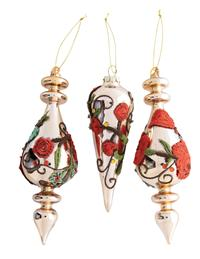 Embroidered Rose Finial Ornaments (Set Of 3)