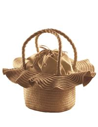 Ruffled Brim Straw Purse