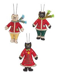 Festive Feline Ornaments (Set Of 3)