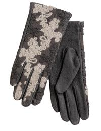 Black And Pewter Wool Gloves