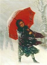 Under Red Umbrella (Pkg Of 15 Holiday Cards)
