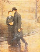 Couple Walking In Rain (Pk Of 6 Fathers Day Cards)